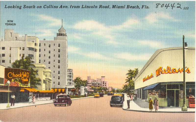 Looking south on Collins Ave. from Lincoln Road, Miami Beach, Florida