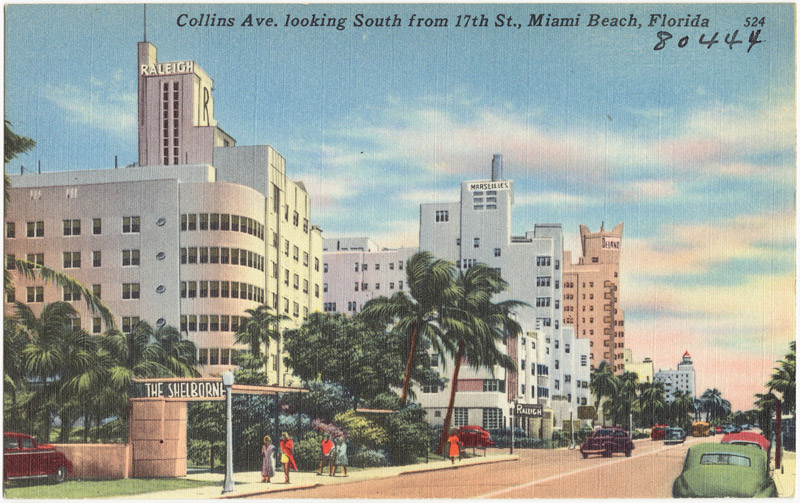 Collins Ave. looking south from 17th St., Miami Beach, Florida