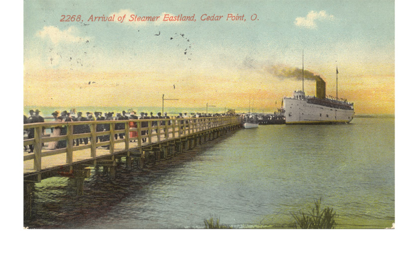 Arrival of Steamer Eastland, Cedar Point, Ohio