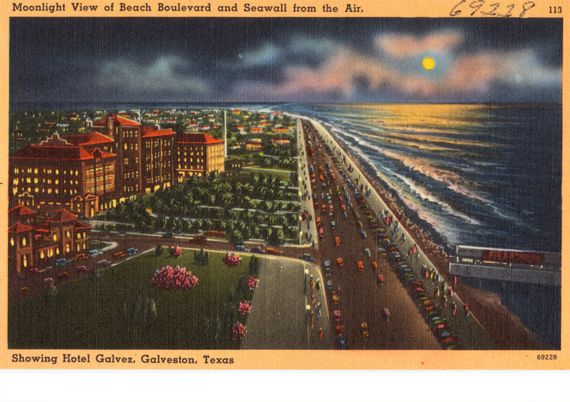 Beach Boulevard and Seawall, Showing Hotel Galvez, Galveston, Texas