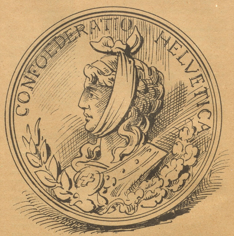 Four-sided coin from Nebelspalter, 1886