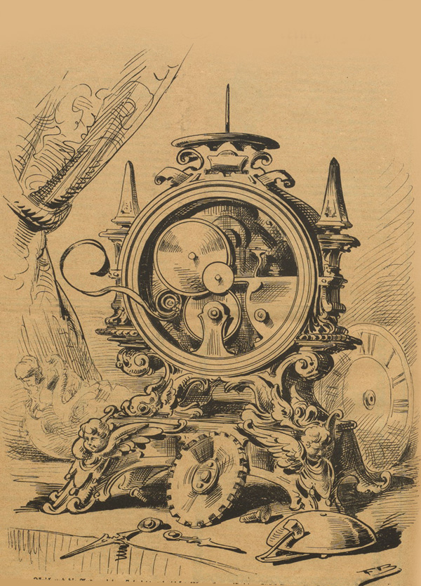 Broken and restored clock From Nebelspalter, 1885.