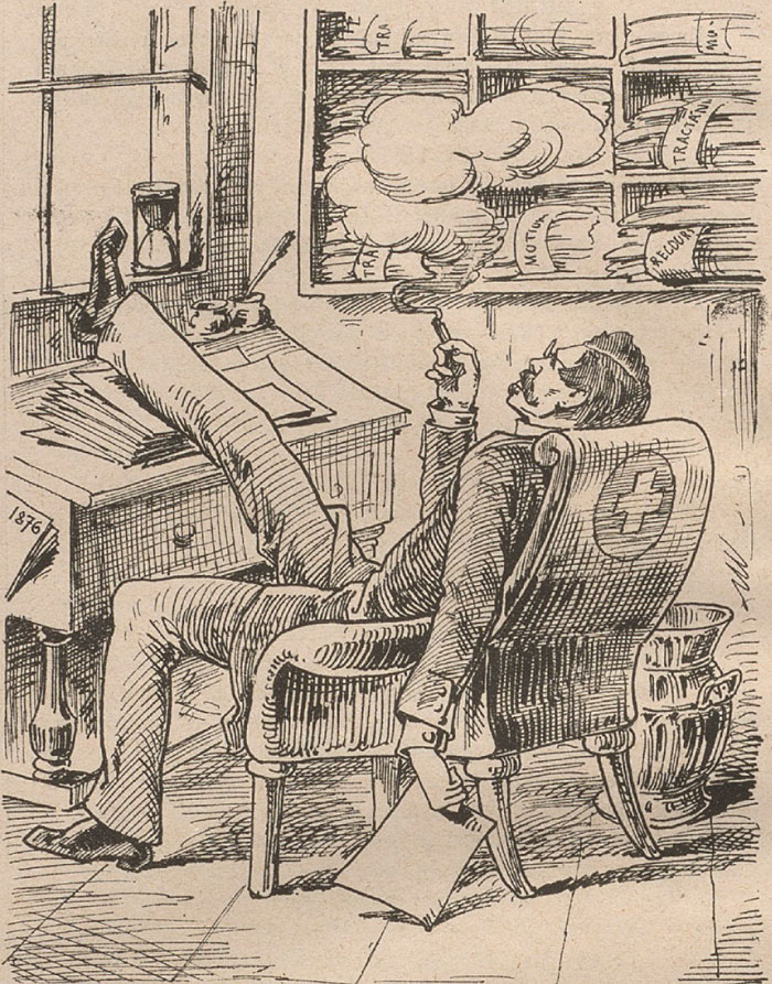 Smoking doctor from Nebelspalter, 1875