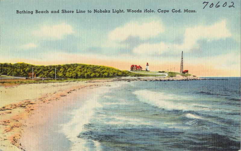 Bathing Beach and Shore Line to Nobska Light, Woods Hole, Cape Code, Massachusetts