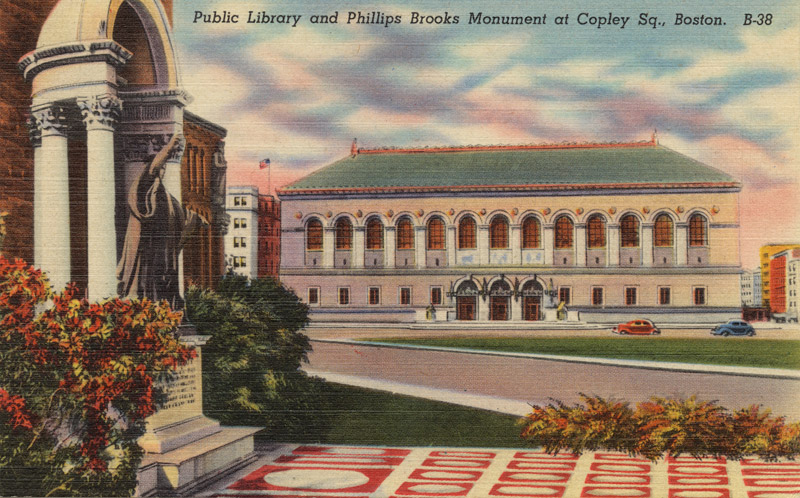 Public Library and Phillips Brooks Monument at Copley Square, Boston, Massachusetts