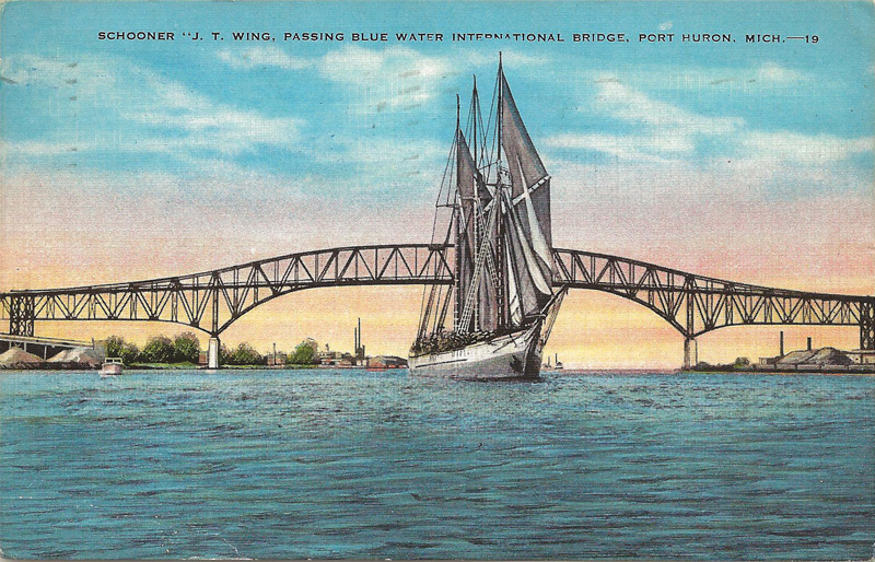 Schooner J.T. Wing, Passing Blue Water International Bridge, Port Huron, Michigan