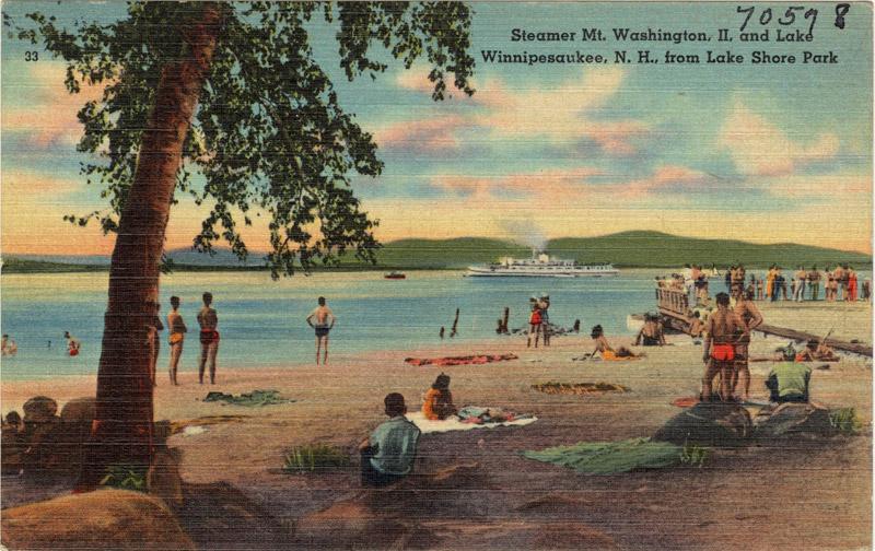 Steamer Mt. Washington II and Lake Winnipesaukee, New Hampshire, from Lake Shore Park