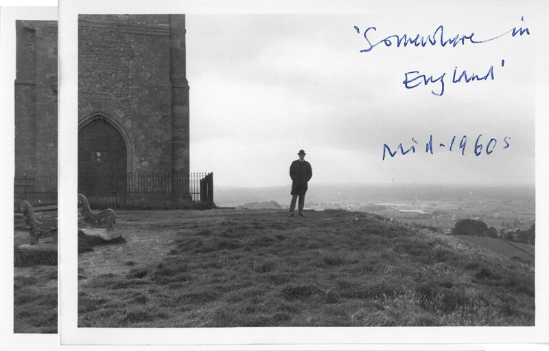 William Burroughs plays a statue at Glastonbury Tor